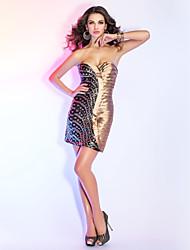 Cocktail Party / Holiday Dress - Multi-color Plus Sizes / Petite Sheath/Column Sweetheart / Spaghetti Straps Short/Mini Taffeta / Sequined