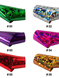 1PCS Laser Foil Nail Decorations Starry Stickers No.1-6(120x4x0.1cm,Assorted Colors)
