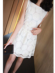 Women's Lace Dress , Lace Bateau Sleeveless Embroidery