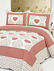 3 peças floral coração lavado algodão conjunto quilt