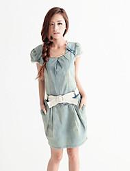 CHAOLIU Crochet Lace Detail Denim Dress(incl. belt0