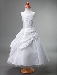 Ball Gown Tea-length Flower Girl Dress - Taffeta Tulle Jewel with Appliques Beading Draping Pick Up Skirt