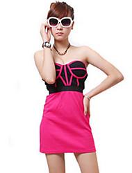 ZHI YUAN Print Sexy Strapless vestido de color de contraste (más colores)