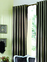 (Two Panels) Modern Brown Jacquard Lined Curtains