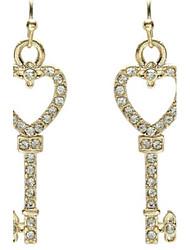 Women's Diamond Heart Key Earrings