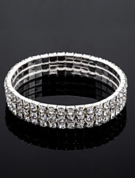 Three Layers Ladies' Rhinestone Tennis Bracelet In Silver Alloy