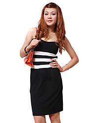 ZHI YUAN Strapless Backless Color Block Bodycon Dress
