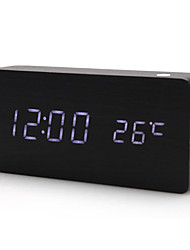 "6 ""Wood Style Desktop Digital Alarm Clock Calendário Termômetro (Black, USB/4xAAA)"