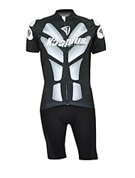 Kooplus 100% Polyester Short Sleeve Quick Dry Mens BIB Short Cycling Suits(Black And White)