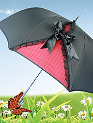 Retro Black Gothic Lolita Umbrella with Lace and Bow