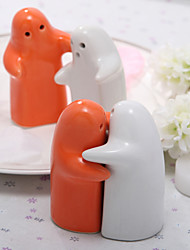 Blanc & Orange Céramique Salt & Pepper Shakers