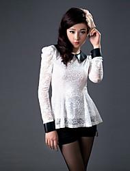 ZHI YUAN PU Leder Puff Sleeve Lace Shirt (weitere Farben)