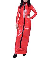 Floor-length Long Sleeve Red PVC Dress
