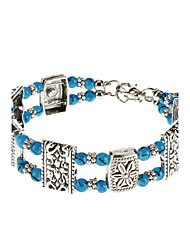 Delicate Double Layer Beads Flower National Wind Bracelet