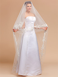 Wedding Veil One-tier Chapel Veils Lace Applique Edge 98.43 in (250cm) Tulle Ivory IvoryA-line, Ball Gown, Princess, Sheath/ Column,