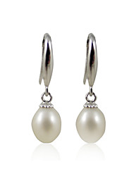 Charming 925 Sterling Silver Pearl Drop Earrings