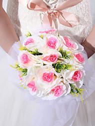 Hübsche runde Form Pink & White Form Satin Rose Hochzeit Brautstrauß