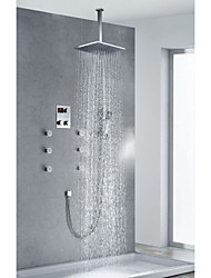 Contemporary Chrome Finish Thermostatic LED Digital Display Shower Faucet with 12 inch Square Showerhead + Handshower