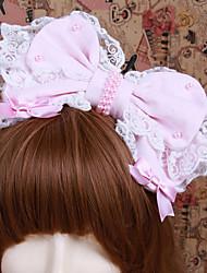 Handmade rosa algodão doce Lolita Bow Headband