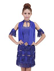 Spandex desempenho dancewear com borlas e Wraps Outfit Dança Latina para senhoras mais cores