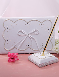 Elegant Wedding Guestbook And Pen Set With Fuax Pearl Sign In Book