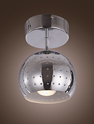 Modern Semi Flush Mount in Dotted Black Shade