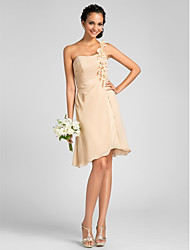 Lanting Bride® Knee-length Chiffon Bridesmaid Dress Sheath / Column One Shoulder Plus Size / Petite with Flower(s) / Side Draping