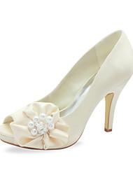 Women's Shoes Satin / Stretch Satin Spring / Summer / Fall / Winter Peep Toe Wedding Stiletto Heel Imitation Pearl / Satin FlowerBlack /