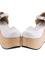 Schuhe Klassische/Traditionelle Lolita Handgemacht Keilabsatz Schuhe einfarbig 9 CM Weiss / Schwarz Für Damen PU - Leder/Polyurethan Leder