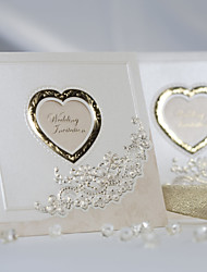 Classic Luxury Folded Wedding Invitation With Heart Cutout (Set of 50)