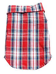 Hunde T-shirt / Hemd Rot / Blau Hundekleidung Frühling/Herbst Plaid/Karomuster