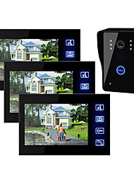7 Inch TFT LCD Video Door  with Touch key (1 Camera with 3 Monitors)