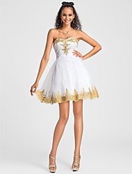 TS Couture® Cocktail Party / Sweet 16 Dress - White Plus Sizes / Petite Ball Gown / A-line Sweetheart / Strapless Short/Mini Tulle / Lace