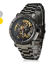 Men's Auto-Mechanical Hollow Dial Black Steel Band Wrist Watch