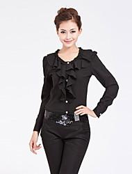 Corea del estilo de la camisa BLUG volante de manga larga Negro