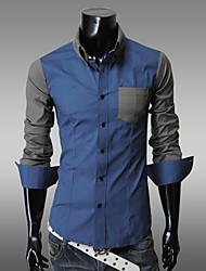 Men's Solid Work Shirt Long Sleeve White / Beige