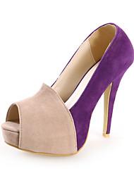 Damenschuhe - Sandalen / High Heels - Kleid - Wildleder - Stöckelabsatz - Zehenfrei - Schwarz / Lila