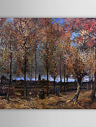 Famous Oil Painting Lane-with-poplars by Van Gogh