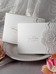 florale à trois volets d'invitation de mariage en relief (jeu de 50)