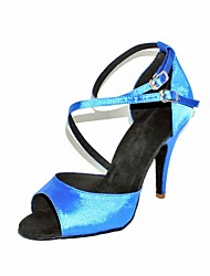 Customizable Women's Dance Shoes Latin/Ballroom Satin Stiletto Heel Blue/Gold