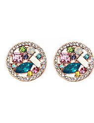 Brillant rond en alliage de cristal Stud Earring (plus de couleurs)