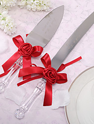 batteries de cuisine couteau de gâteau de mariage satin couteau personnalisé de gâteau de fleur et ensemble de serveurs