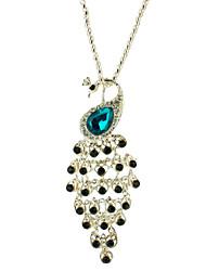 Rare Black Diamond Sapphire queue de paon collier en métal