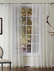 Two Panels Curtain Neoclassical , Solid Polyester Material Sheer Curtains Shades Home Decoration For Window