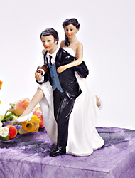 Cake Toppers Playful Football Couple Figurine  Cake Topper