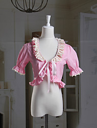 Short Sleeve Pink Cotton Sweet Lolita Bolero