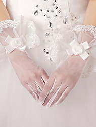 Wrist Length Fingertips Glove Satin Tulle Bridal Gloves Party/ Evening Gloves Spring Fall Winter