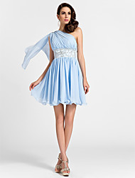 LAN TING BRIDE Short / Mini Chiffon Bridesmaid Dress - A-line / Princess One Shoulder Plus Size / Petite