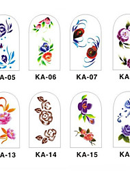 12PCS 3D Full-cover Nail Art Stickers Flower Series(NO.2,Assorted Color)