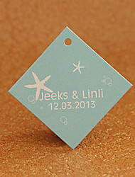 Personalized Rhombus Favor Tag - Beach Theme (Set of 30)